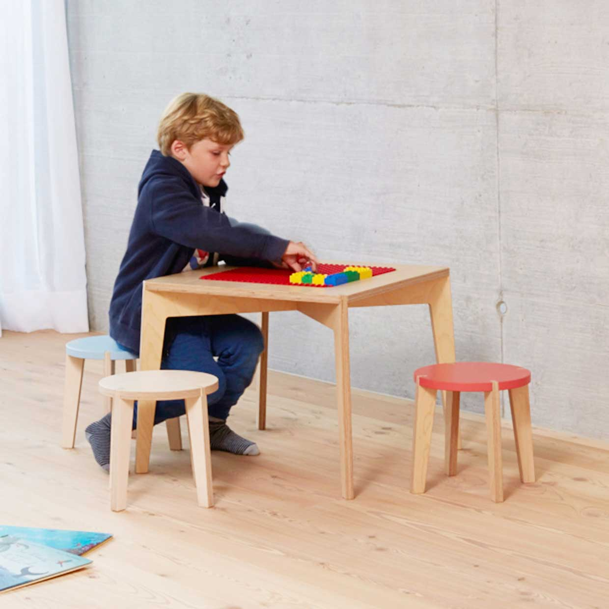 children s playroom furniture modern table and stool for children by blueroom 11116